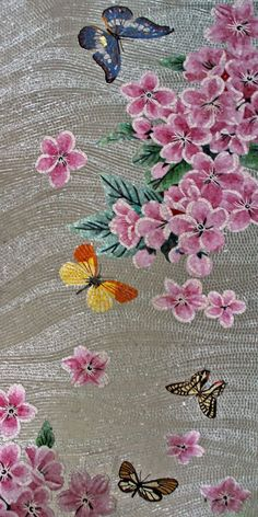 Pink Flowers on Gray Background Glass Mosaic Mural Mosaic Artwork, Mosaic Wall Art, Mosaic Glass, Glass Art, Mosaic Bathroom, Small Bathroom, Bathrooms, Mosaic Crafts, Mosaic Projects
