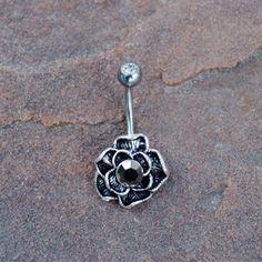 Rose fleur nombril nombril anneau Peircing avec perle hématite, bijoux de corps…