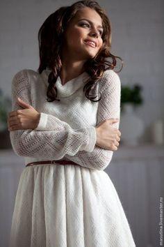 """Knitted dress / Платья ручной работы. Заказать Платье """" Снежок"""". Масютина Олеся. Ярмарка Мастеров. Ажурное платье, бартер"""