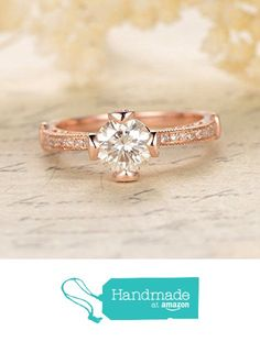 Round FB Moissanite Engagement Bridal Ring Pave Diamond Wedding 14K Rose Gold 6.5mm from the Lord of Gem Rings https://www.amazon.com/dp/B01H3YKWSA/ref=hnd_sw_r_pi_dp_hVxyxbZ3P88DZ #handmadeatamazon