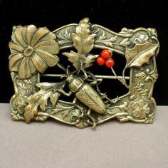 Beetle Berries Leaves Flowers Sash Pin Vintage Exceptional Details