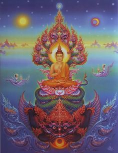 Buddha Painting by Chalermchai Kositpipat Thai visual artist Buddha Painting, Buddha Art, Psychedelic Art, Thailand Art, Tibetan Art, Psy Art, Thai Art, Visionary Art, Sacred Art