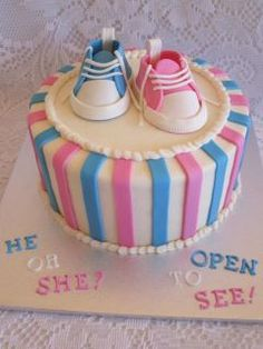 LOVE this!!! You could even forgo the fondant shoes and put a real (new) shoe of each gender on top for this to work