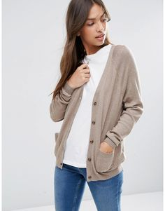Image 1 of ASOS Boyfriend Cardigan in Cashmere Mix