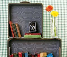 I love old suitcases. I don't seem them at the thrift store that much, but when I do, I snatch them up.