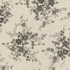 1 Yard Cream and Black Floral Fabric by SewmuchfunWV on Etsy, $11.00