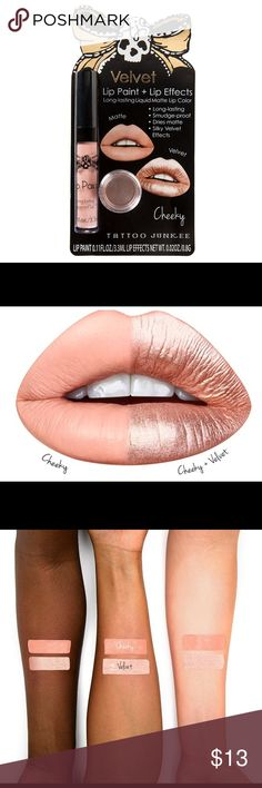 Tattoo Junkee Lip Paint & Lip Effects in Cheeky Cheeky lip color is a playful pink nude liquid lipstick.Add the silky velvet effects for a look that'll have 'em begging for more. Package includes one 0.11-fl. oz. long-lasting lip color & one 0.2-oz. container of accenting shimmer powder. Rich, high-pigmented nude pink lip color.    Long lasting liquid lipstick – no need to reapply Smudge-proof for gorgeous lip color that stays in place all day.Dries matte. Get 2 looks in 1 with the included…