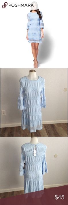 Textured Lace Shift Dress New York & Co. New! With tags! Flawless! Soft stretchy fabric. Unique, cute! Make offer. Purchase comes with gift. NOT ANTHROPOLOGIE; tagged for exposure. Baby Blue. Sky blue. Textured Lace Shift Dress. Body hugging with room for stretch. Anthropologie Dresses