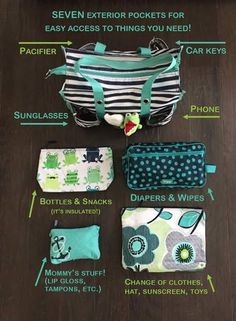 Thirty-One Zip-Top Utility Tote used as a diaper bag; paired with 24/7 case and zipper pouches
