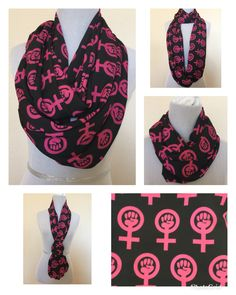 Girl Power Extra Wide and Long Infinity Scarf by SassySkirtsForGals on Etsy