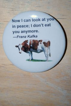 Vegan Quote Cow Button by TheVeganHippieFreak on Etsy, $2.00