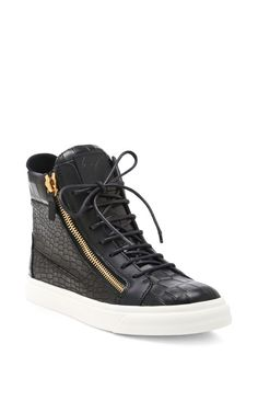 London Embossed-Leather High-Top Sneakers by Giuseppe Zanotti - Moda Operandi