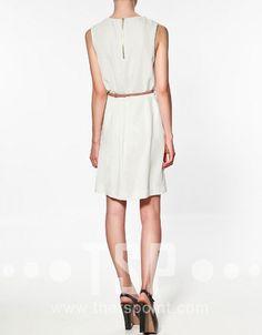 [US$33.99] - Pleated Sleeveless Satin Dress : ThatsPoint.com