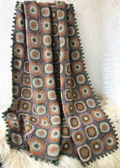 Handmade Crochet Throw. Crochet Afghan. Crochet Throw Blanket. Crochet Blanket. Cozy wool yarn Blanket. Crochet Throw. Granny Square Blanket, Granny Square Crochet Pattern, Afghan Blanket, Crochet Squares, Crochet Blanket Patterns, Granny Squares, Crochet Ideas, Crochet Projects, Knit Or Crochet