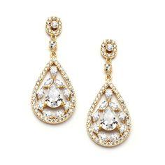Gold Cubic Zirconia Mosaic Teardrop Bridal, Prom or Wedding Earrings 4093E
