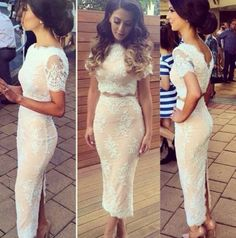 """""""Bedroom Whispers"""" Nude Beige Lace Bodycon Two Piece Dress"""