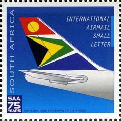 Stamp: Boeing (South Africa) Anniversary of South African Airways) Mi:ZA Union Of South Africa, Boeing 747 400, Aviation World, Small Letters, New South, African History, Stamp Collecting, Countries Of The World, Historical Photos