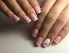 Beautiful wedding nails, Delicate wedding nails, Evening nails, Exquisite nails, French manicure with heart, Heart nail designs, ring finger nails, Romantic nails
