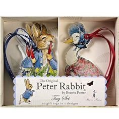 These gorgeous gift tags will embellish any present or party favors with style. They feature two illustrations by Beatrix Potter: Peter Rabbit and Jemima Puddle Duck. Matching items are available in t