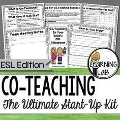 ESL programs are starting to look more like a co-teaching model in some states.  CoTeaching (inclusion) is a very rewarding opportunity for an ESL teacher and a general education teacher to teach along side each other in a heterogeneous setting.  This Ultimate Co-Teaching Start-Up kit is perfect for those that are new to co-teaching or are co-teaching with a new partner.