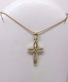 "LADIES 14K YELLOW GOLD BAGUETTE DIAMOND CROSS PENDANT W 18"" DOT BEAD CHAIN #Pendant"