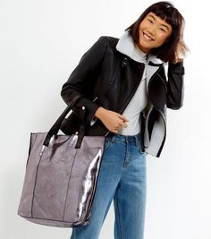 Pewter Leather Metallic Shopper Bag | New Look