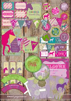 Large Equestrian Horse Birthday Large Party Pack by SweetPapermint, $40.00