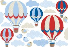 vinilo decorativo kit globos aerostaticos nubes y pajaritos Baby Shower Balloons, Baby Shower Parties, Candyland, Diy Hot Air Balloons, Cut Out Art, Nursery Patterns, Baby Footprints, Rustic Baby, 1st Boy Birthday