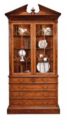 Dining Room Small Rushmore Walnut Glazed Display Cabinet With Drawers