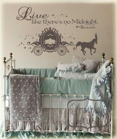 Cinderella Carriage vinyl wall art sticker with Live like there's no Midnight…