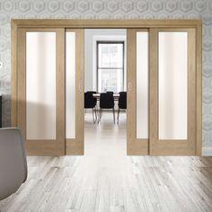 Thruslide Pattern 10 Shaker Oak - 4 Sliding Doors and Frame Kit - Obscure Glass - Lifestyle Image. #oak #sliding #doors