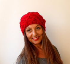 FREE SHIPPING Women's Knit Hat Slouchy Beret  by warmandsoft, $29.00