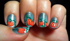 Nail art with Julep Pumpkin Patch duo and other Julep polishes. Blog link: http://emismanis.wordpress.com/