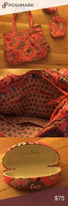 Vera Bradley Call Me Coral Bag Set Call Me Coral patterned tote, sunglass/eyeglass case and small makeup/cosmetic bag. All in EUC! Love having the coordinating pieces. Travel in style! Vera Bradley Bags