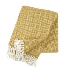 Klippan Samba Lambs Wool Throw Yellow - Living - Wool Throws and Blankets… Samba, Classic Throws, Scandinavian Fabric, Yellow Bedding, Bedding Sets, Style Classique, Textiles, Plaid, Dark Interiors