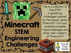 STEM Engineering Challenge Pack ~ Minecraft Challenges ~ Set of 5! $ Create a Creeper Challenge Build a Block Tower Challenge Animal Pen Challenge Minecraft Blocks Challenge Capture a Creeper Challenge