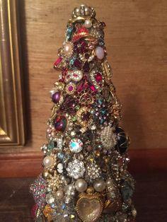 Vintage John Fontaine Rhinestone Jewelry Christmas Tree Under Glass Dome