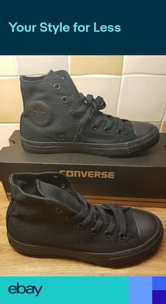 8815a1f5d387a Converse Kids Boys Girls Black Monochrome All Star basketball shoe size 1  new. Vintage 90s Converse Cons ...