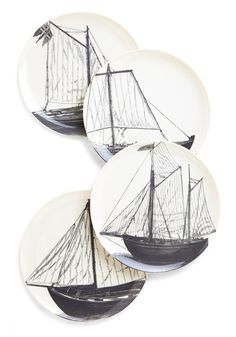Mainsail Course Plate Set. Make a splash at mealtime with this maritime-themed plate set! #multi #modcloth