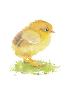 Original Chick Watercolor - Animal Illustration, Easter, Nursery Art, 8x10. $30.00, via Etsy.