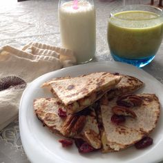 Peanut Butter + Bananas + Nuts + Cranberries Sweet Quesadillas!  An EASY & FULL OF PROTEIN BREAKFAST TO START THE DAY FULL OF ENERGY!