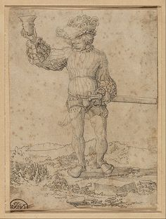 1515 Circle of Wolf Huber (German) - Mercenary Soldier in a Landscape. pen and ink. Wolf, Google Art Project, Landsknecht, Getty Museum, Renaissance Art, Drawing People, Art Google, Paper Art, Medieval