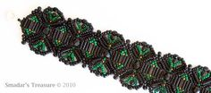 Beaded Bracelet in Black Green and Copper by SmadarsTreasure
