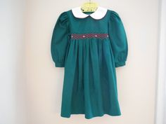 Size 3T4T Vintage Toddler Girl Green Smocked by LittleMarin,
