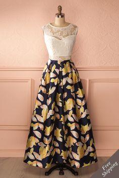 Daya Lys - White lace and colorful print maxi dress