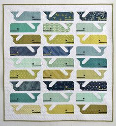 Freshly Pieced Modern Quilts: Preppy the Whale Baby Quilt