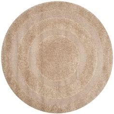 Florida Shag Beige 6 ft. 7 in. x 6 ft. 7 in. Round Area Rug