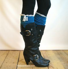 Teal cable-knit Boot Socks with ivory knit lace trim and buttons - lace socks  (item no. 5-21). $34.00, via Etsy.