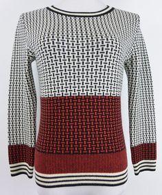 Diane Von Furstenberg Black Red Geometric Wool Sweater - Medium M #349 #DianeVonFurstenberg #Crewneck