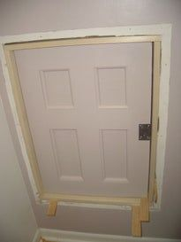 Project Coraline Build An Attic Door W Skeleton Lock Attic Doors Attic Renovation Attic Flooring